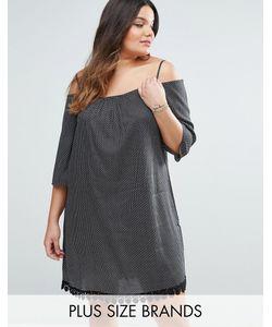 Diya | Платье В Горошек С Открытыми Плечами И Отделкой Кроше Plus