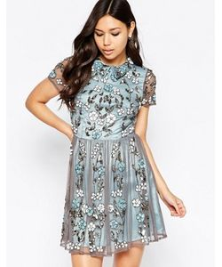Maya | Короткое Приталенное Платье С Цветочной Отделкой И Воротником