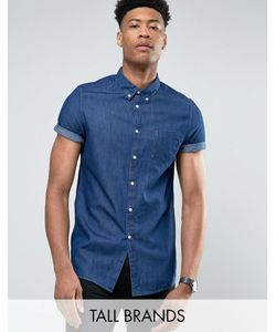 Burton Menswear | Темная Выбеленная Джинсовая Рубашка С Коротким Рукавом Tall