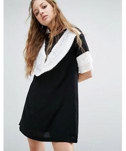 Navy   Платье Мини С Эффектными Рюшами London