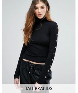 Missguided Tall | Ribbed High Neck Popper Detail Top