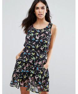 Jasmine | Платье С Птицами И Оборкой