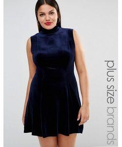 Club L Plus   Короткое Приталенное Вельветовое Платье С Высоким Воротом