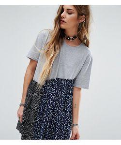 Reclaimed Vintage | Свободное Платье Из Комбинированных Материалов