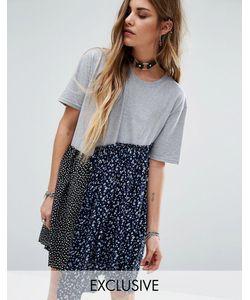 Reclaimed Vintage   Свободное Платье Из Комбинированных Материалов