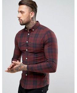 Asos | Красная Рубашка Скинни В Клетку