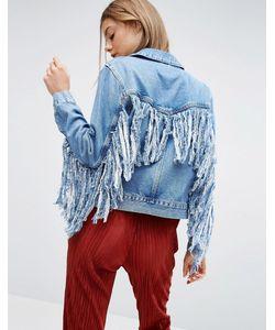 Asos | Синяя Джинсовая Куртка С Бахромой Сзади