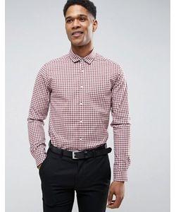 Asos | Бордовая Зауженная Рубашка В Клетку