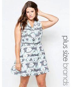 Yumi Plus   Короткое Приталенное Платье В Полоску С Цветочным Принтом