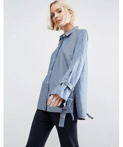 Asos | Синяя Выбеленная Джинсовая Рубашка С Oversize-Рукавами