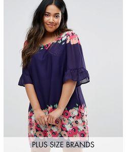 Yumi Plus   Свободное Платье С Оборками На Рукавах И Принтом