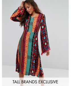 Glamorous Tall | Платье Миди С Глубоким Вырезом Ацтекским Принтом И Отделкой Помпонами Glamorous