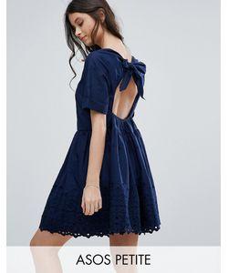 ASOS PETITE | Свободное Платье С Открытой Спиной И Вышивкой
