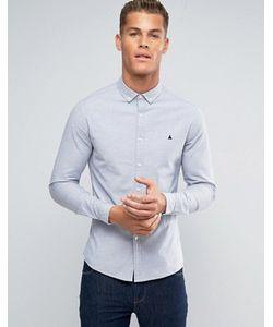 Asos   Голубая Приталенная Оксфордская Рубашка С Логотипом