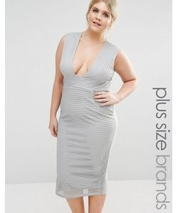 Missguided Plus | Платье Миди В Рубчик С Глубоким Вырезом