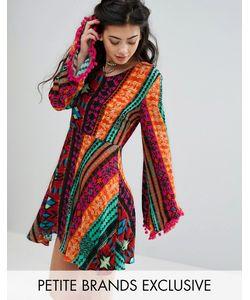 Glamorous Petite | Короткое Приталенное Платье С Ацтекским Принтом И Помпонами