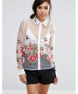Fashion Union | Полупрозрачная Рубашка С Цветочной Вышивкой