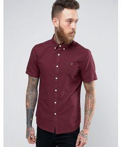Farah | Бордовая Оксфордская Узкая Рубашка С Короткими Рукавами Brewer