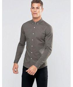 Asos | Саржевая Рубашка Скинни Цвета