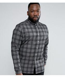 Asos | Черная Приталенная Джинсовая Рубашка В Клетку Plus