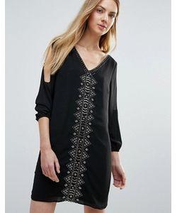 Greylin | Цельнокройное Платье С Бисерной Отделкой И Вырезами На Рукавах Vira