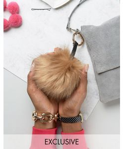 My Accessories | Faux Fur Pom Keyring In Natural