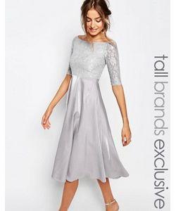 True Decadence Tall | Платье Миди Для Выпускного С Кружевным Топом И Широким Вырезом True