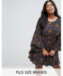 Koko   Свободное Платье Размера Плюс С Оборками На Рукавах
