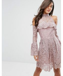 Dark Pink | Кружевное Короткое Приталенное Платье С Открытыми Плечами