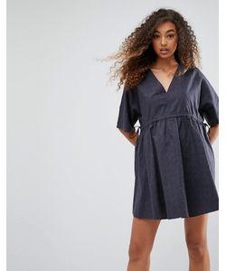Asos | Свободное Платье С V-Образными Вырезами И Поясом