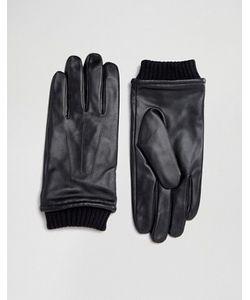 Barney's Originals   Черные Кожаные Перчатки С Манжетами Barneys