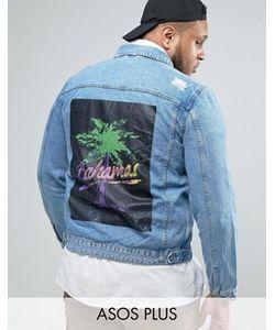 Asos   Выбеленная Джинсовая Куртка С Принтом На Спине Plus