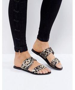 New Look | Кожаные Сандалии Со Змеиным Рисунком И Пряжкой
