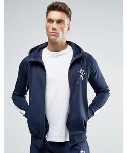 Gym King | Обтягивающая Темно-Синяя Спортивная Куртка С Капюшоном