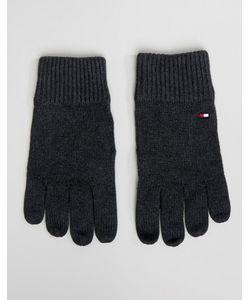 Tommy Hilfiger | Темно Меланжевые Перчатки На Основе Хлопка Пима
