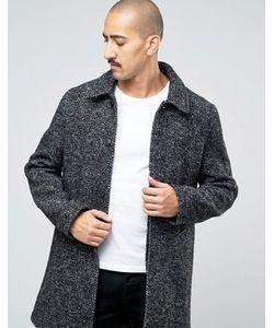 Stanley Adams | Черно-Белое Крапчатое Пальто С Высоким Содержанием Шерсти