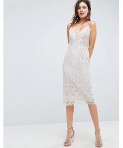 Asos | Кружевное Платье-Футляр Миди На Бретелях