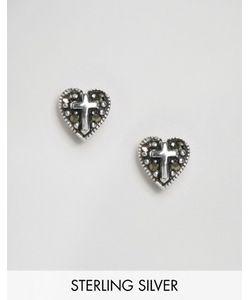 Asos | Серебряные Серьги В Виде Сердечек С Крестом
