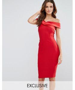 Vesper | Платье-Футляр С Открытыми Плечами И Атласной Отделкой