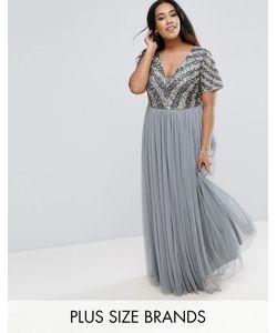 Lovedrobe Luxe   Платье Макси С Декорированным Лифом И V-Образным Вырезом