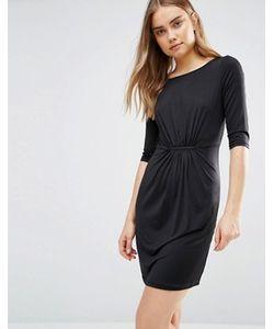 Lavand.   Черное Цельнокройное Платье Со Сборкой Lavand