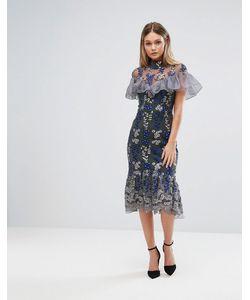 THREE FLOOR | Платье Миди С Вышивкой И Рюшами