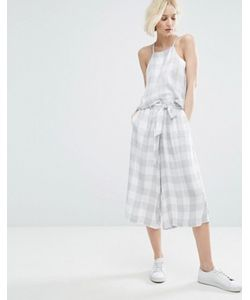 Native Youth | Awkward Length Trousers With Tie Waist In Large Gingham