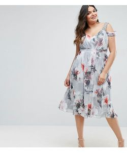Little Mistress Plus | Платье Миди С Открытыми Плечами И Цветочным Принтом