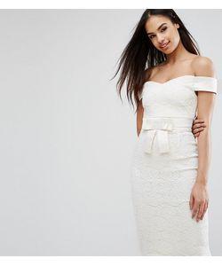Vesper | Кружевное Платье-Футляр С Открытыми Плечами И Атласным Бантом