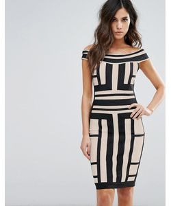 WOW Couture | Платье С Открытыми Плечами И Контрастными Вставками