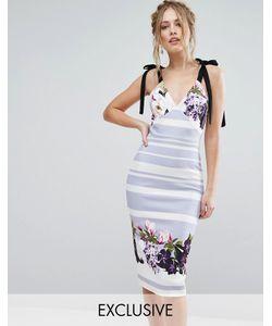 True Violet | Платье Миди С Бантиками И Цветами