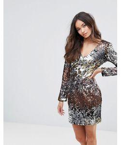 Club L | Платье Мини С V-Образным Вырезом Пайетками И Эффектом Омбре