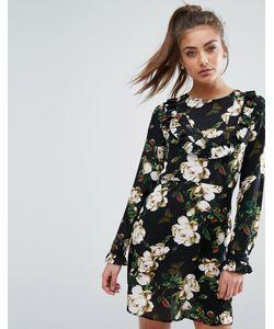boohoo | Платье С Цветочным Принтом И Рюшами Спереди