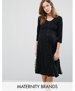 Bluebelle Maternity | Чайное Платье Для Беременных С Кружевными Вставками По Бокам